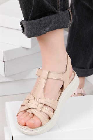 Klasik Sandalet Bej - Thumbnail