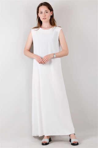 Zulays - Kolsuz İçlik Elbise Beyaz
