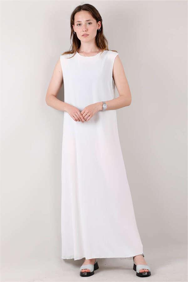 Kolsuz İçlik Elbise Beyaz