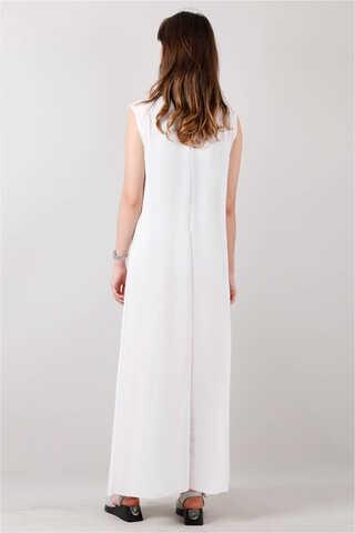 Kolsuz İçlik Elbise Beyaz - Thumbnail