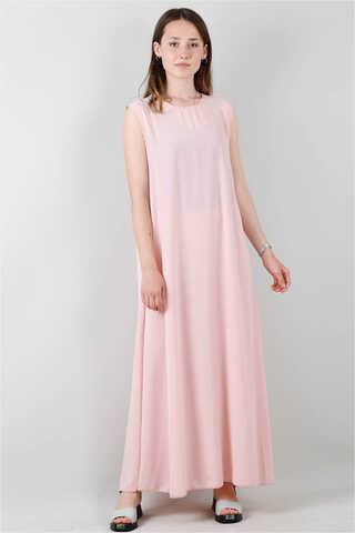 Kolsuz İçlik Elbise Pudra - Thumbnail