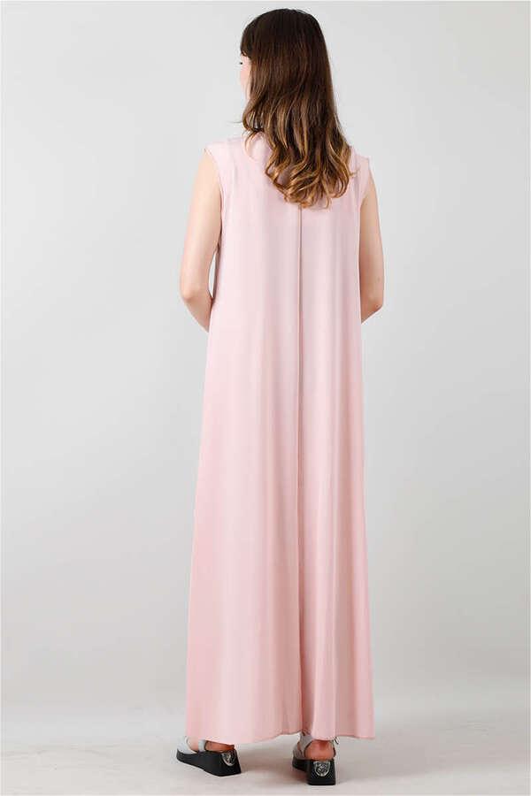 Kolsuz İçlik Elbise Pudra