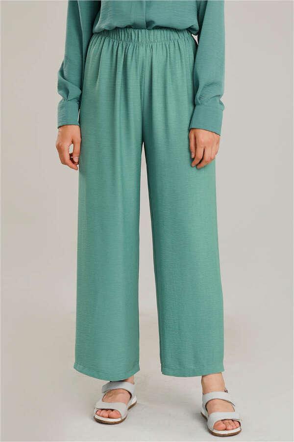 Krep Belden Lastikli Pantolon Çağla Yeşili