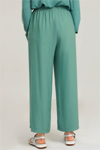 Krep Belden Lastikli Pantolon Çağla Yeşili - Thumbnail