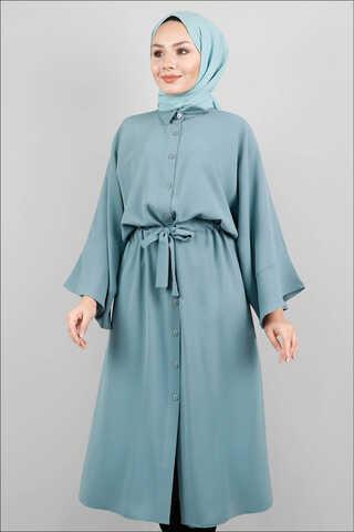 Zulays - Kuşaklı Gömlek Tunik Açık Mint