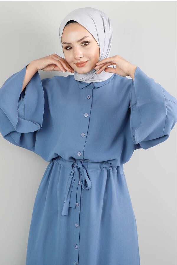Kuşaklı Gömlek Tunik İndigo