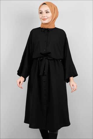 Zulays - Kuşaklı Gömlek Tunik Siyah
