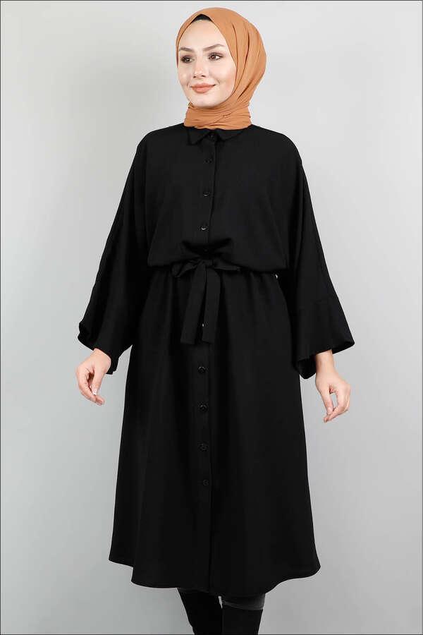 Kuşaklı Gömlek Tunik Siyah