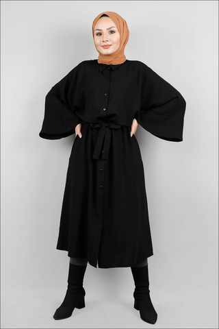 Kuşaklı Gömlek Tunik Siyah - Thumbnail