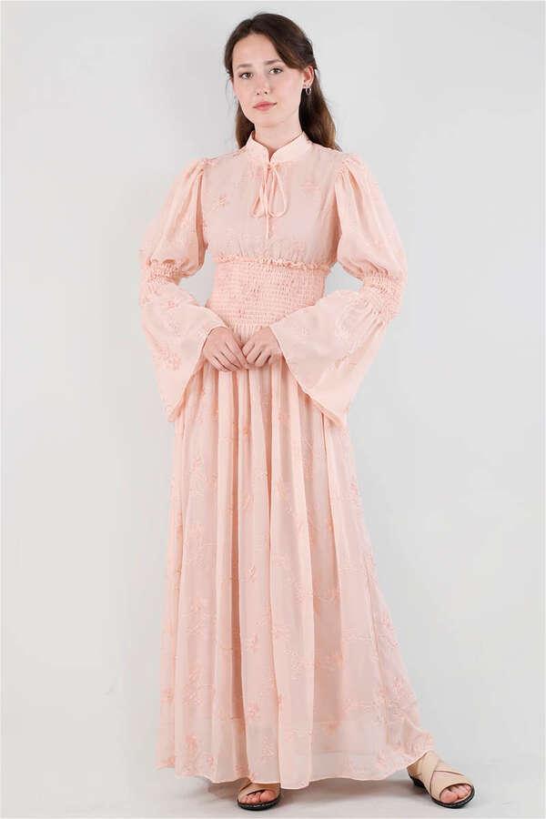 Liza Elbise Açık Somon