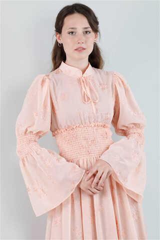 Liza Elbise Açık Somon - Thumbnail