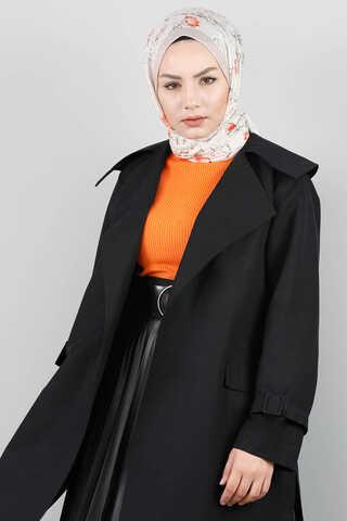 Midi Siyah Trenç - Thumbnail