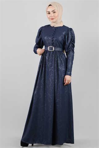 - Motif Desenli Lacivert Elbise