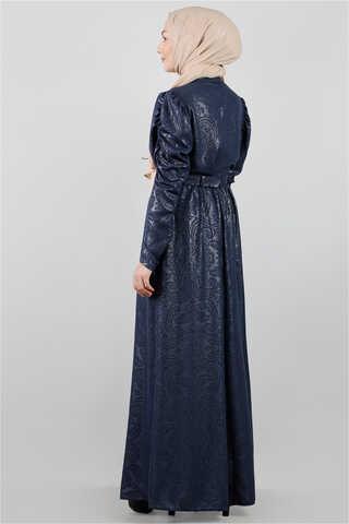 Motif Desenli Lacivert Elbise - Thumbnail