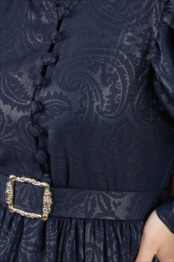 Motif Desenli Lacivert Elbise