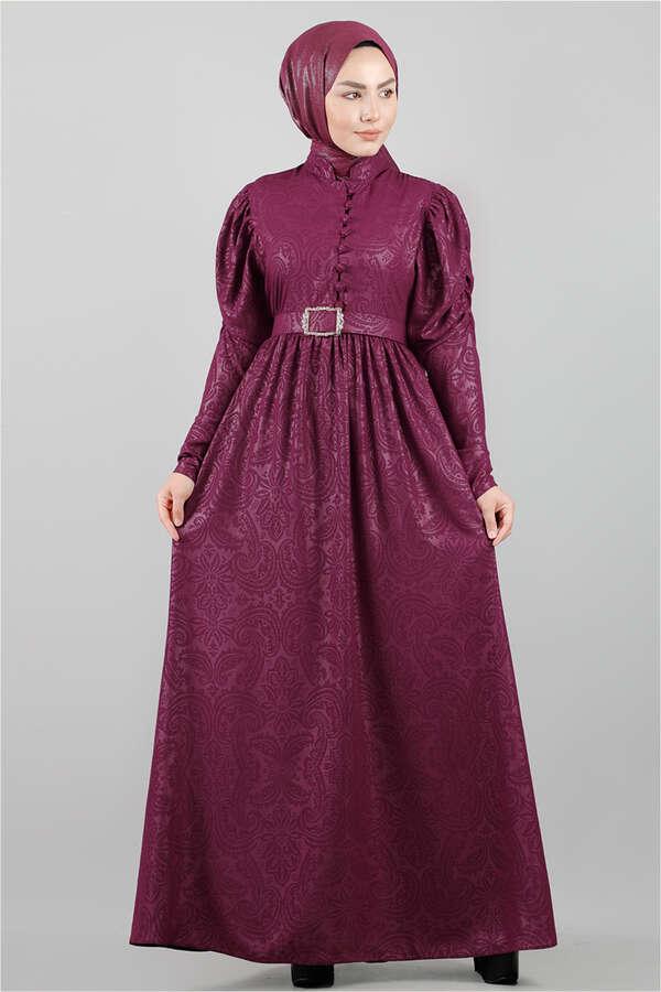 Motif Desenli Mürdüm Elbise