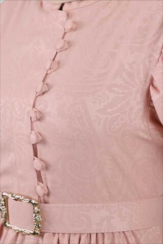 Motif Desenli Pudra Elbise - Thumbnail