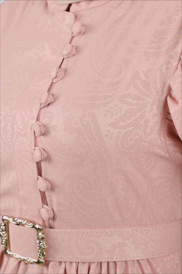 Motif Desenli Pudra Elbise