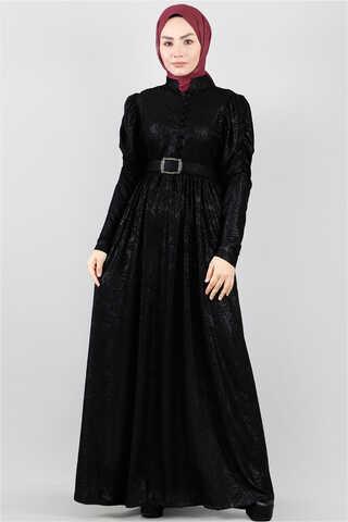 - Motif Desenli Siyah Elbise