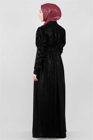 Motif Desenli Siyah Elbise - Thumbnail