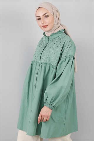 - Ön Robası Dantelli Gömlek Çağla Yeşili