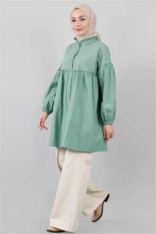 Ön Robası Dantelli Gömlek Çağla Yeşili - Thumbnail