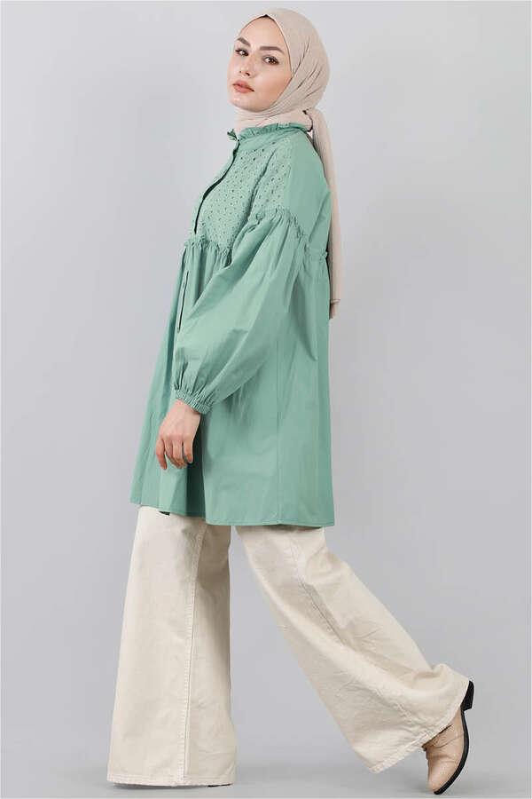 Ön Robası Dantelli Gömlek Çağla Yeşili
