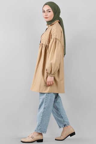 Ön Robası Dantelli Gömlek Camel - Thumbnail