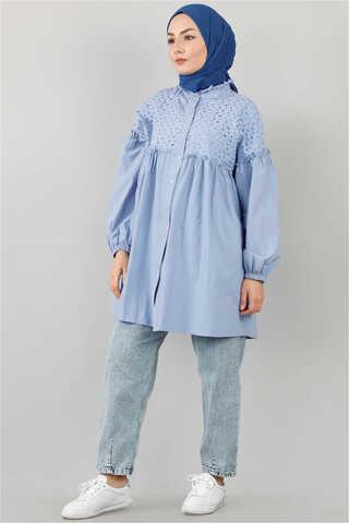 - Ön Robası Dantelli Gömlek Mavi