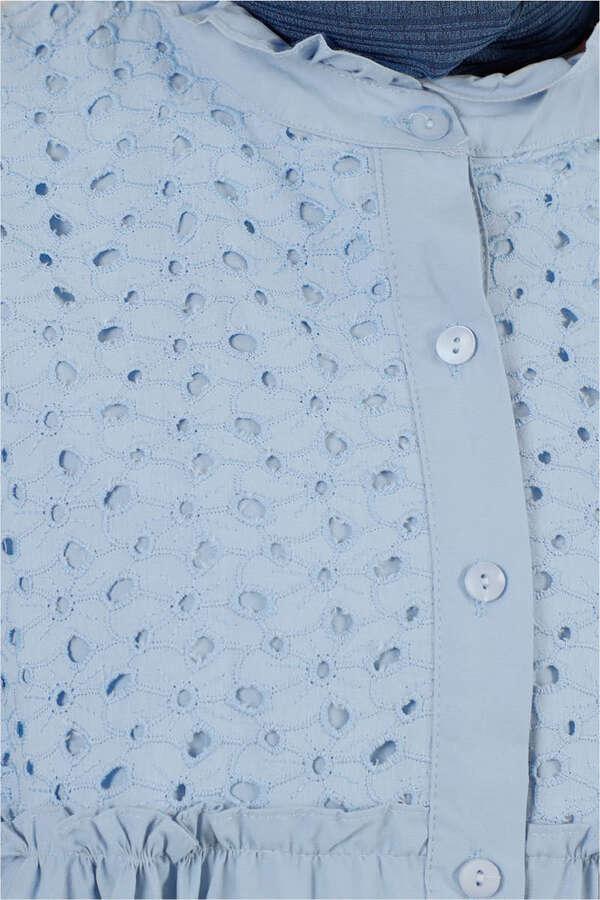 Ön Robası Dantelli Gömlek Mavi