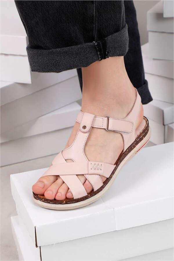 Örgü Şeritli Sandalet Pudra