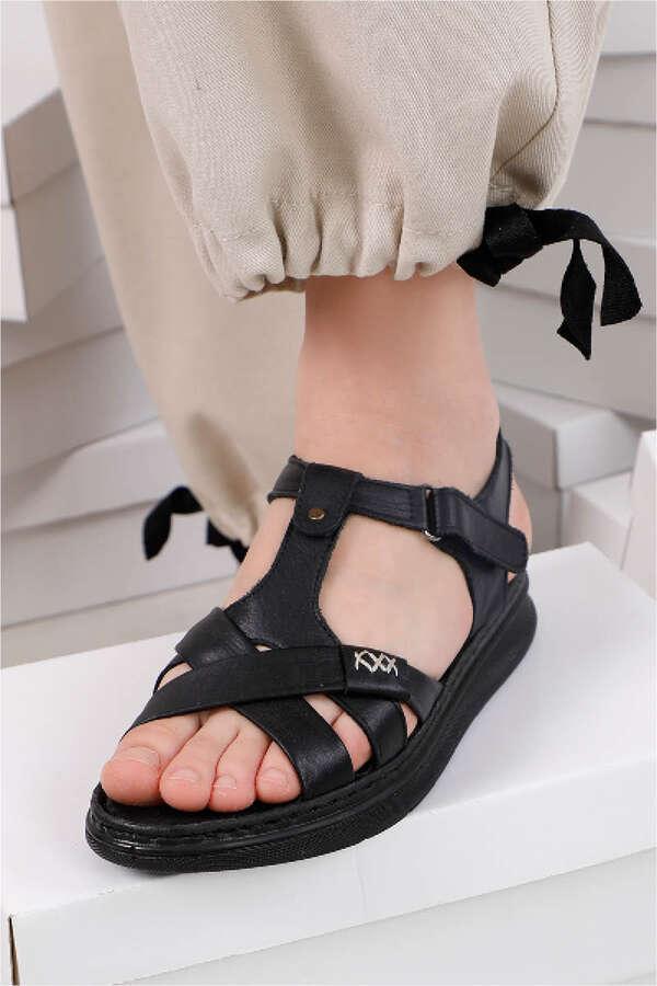 Örgü Şeritli Sandalet Siyah