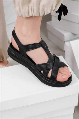 Örgü Şeritli Sandalet Siyah - Thumbnail