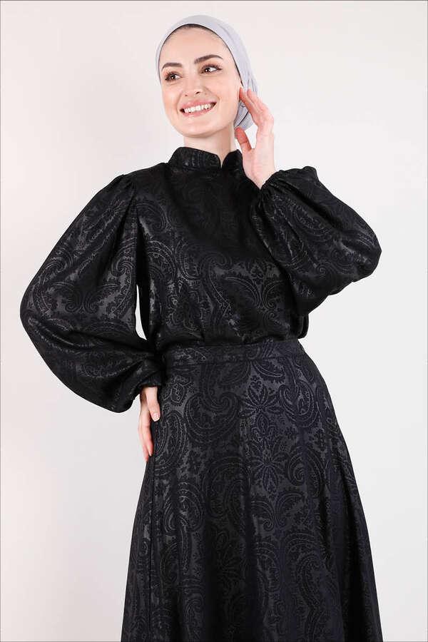 Osmanlı Desenli Etek Takım Siyah