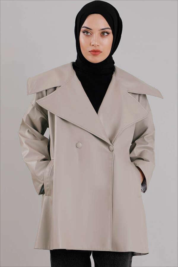 Oversize Deri Ceket Çakıl