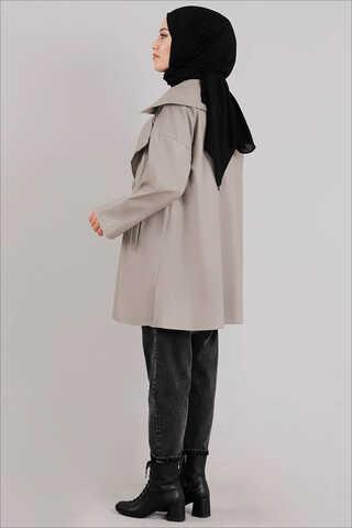 Oversize Deri Ceket Çakıl - Thumbnail