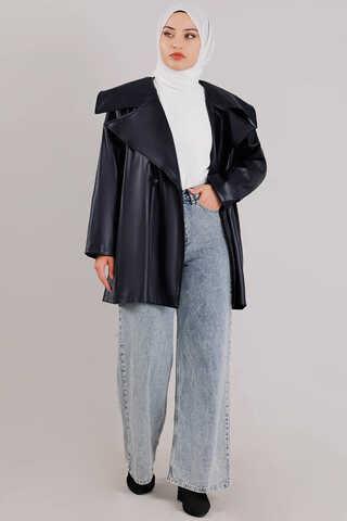 Oversize Deri Ceket Lacivert - Thumbnail