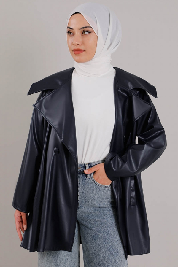 Oversize Deri Ceket Lacivert
