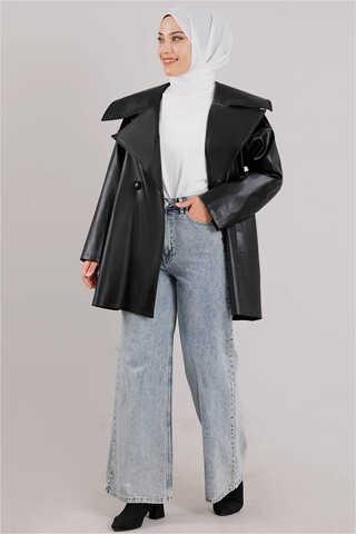 Zulays - Oversize Deri Ceket Siyah