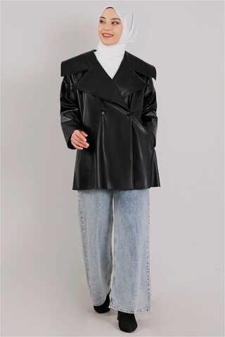 Oversize Deri Ceket Siyah - Thumbnail