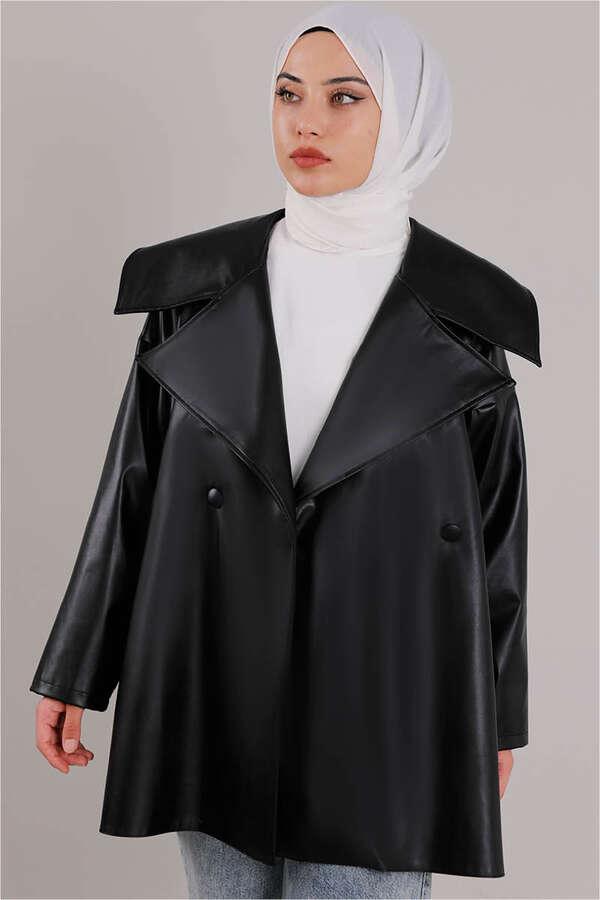 Oversize Deri Ceket Siyah