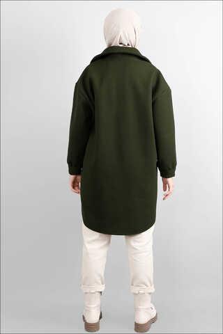 Oversize Gömlek Ceket Haki - Thumbnail