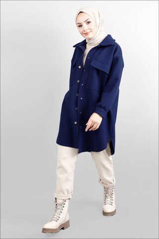 Zulays - Oversize Gömlek Ceket Lacivert