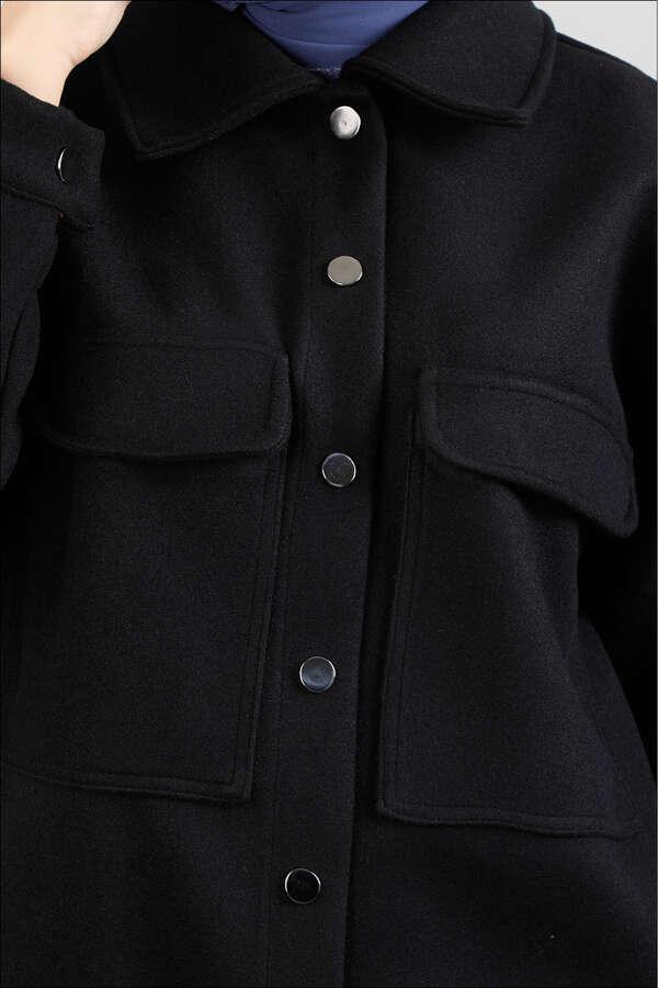Oversize Gömlek Ceket Siyah