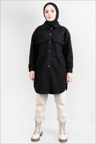 Zulays - Oversize Gömlek Ceket Siyah