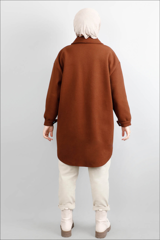 Oversize Gömlek Ceket Taba - Thumbnail