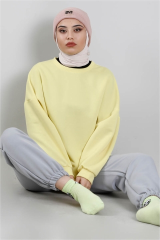 FISRT ANGELS - Oversize Sweat Limon Sarısı