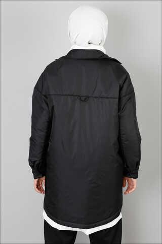 Pufer Şişme Ceket Siyah - Thumbnail