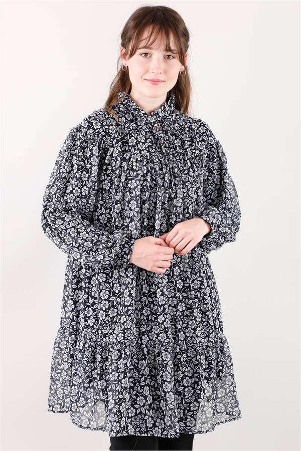Robalı Şifon Tunik Siyah