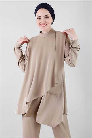 Salaş Tunik Takım Açık Cappucino - Thumbnail